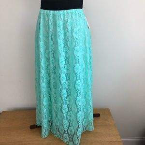 NWT LuLaRue Mint W/Black Band Lucy Maxi Skirt